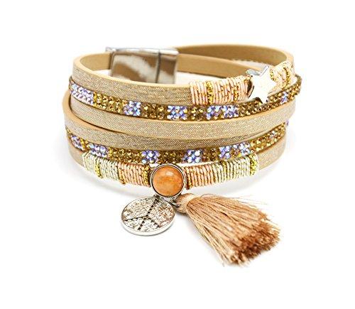 BC1730D - Bracelet Double Tour Multi-Rangs Brillants Strass avec Charms Etoile Peace et Pompon Beige