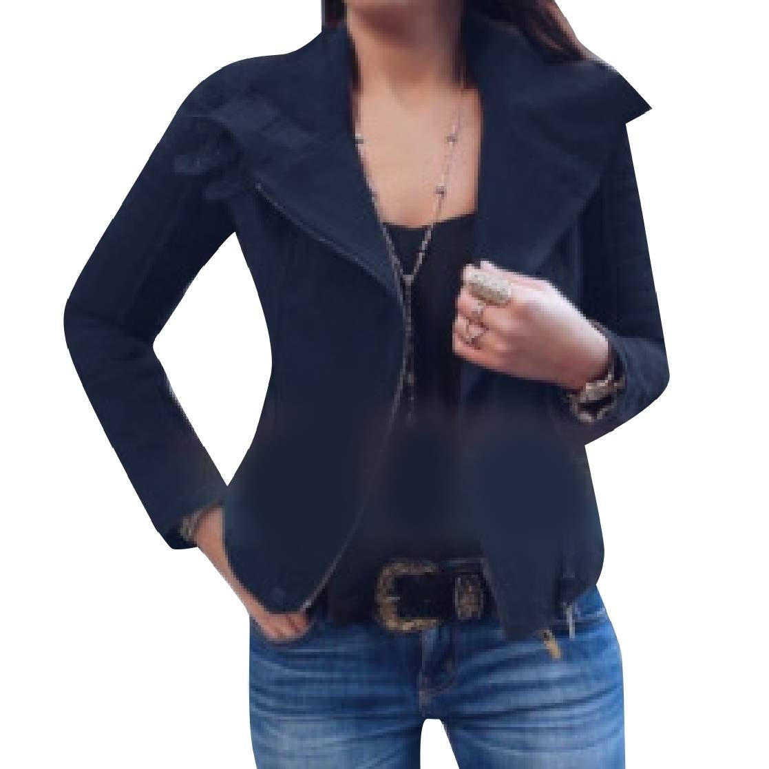 YUNY Womens Oversize Silm Solid Colored Motorcycle Lounger Jacket Black XS