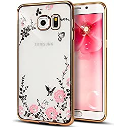 [Secret Garden] HAOTP(TM) Beauty Luxury Butterfly Floral Flower Diamonds Shiny Plating Frame Plating Bumper Soft Flexible TPU Transparent Skin Case for Samsung Galaxy S6--Swarovski (Gold/Pink)