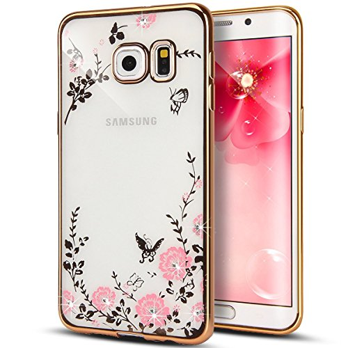 [Secret Garden] HAOTP(TM) Beauty Luxury Butterfly Floral Flower Diamonds Shiny Plating Frame Plating Bumper Soft Flexible TPU Transparent Skin Case for Samsung Galaxy S6-Swarovski (Gold/Pink) ()