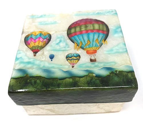 Kubla Craft Hot Air Balloons Capiz Shell Keepsake Box, 4 Inches Square