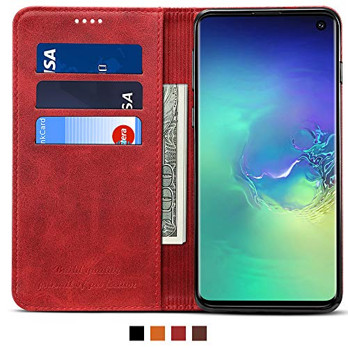 Leather Wallet Case for Samsung Galaxy S10 Potective Phone Kickstand Flip Cover with Card Holder, - Case Fire Phone Wallet Leather