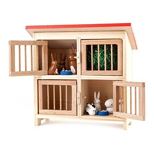 Miniatur-Großer Hasenstall mit Hasen 9-teilig - Dregeno Erzgebirgische Holzkunst - Artikel 043 003 1