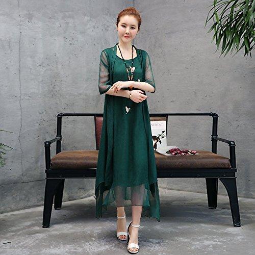 en Wind pices National brod 3XL Jupe MiGMV Moyenne de Grande Robe Robe Ensemble Vert Deux noiratre Coton Costume Longue BgPxSq