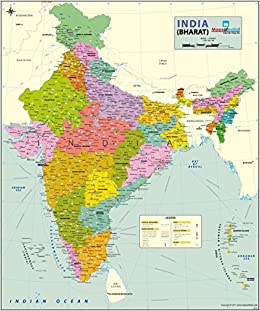 India Political Map Art Paper 27 55 W X 33 H Amazon In Maps Of