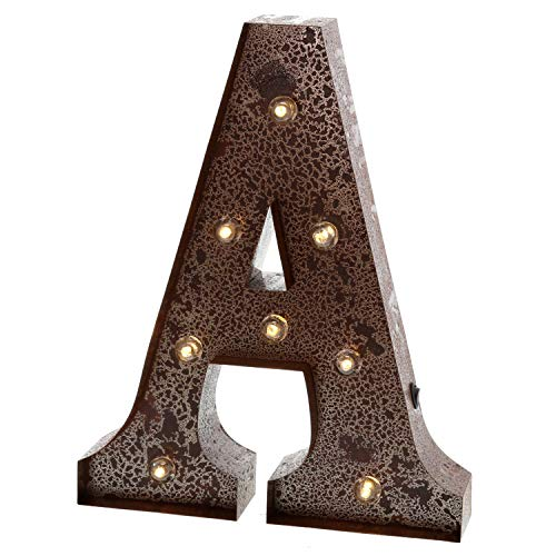 Barnyard Designs Metal Marquee Letter A Light Up Wall Initial Wedding, Home and Bar Decoration 12