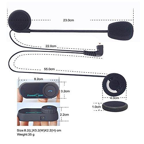 Sistema de comunicación de la motocicleta, casco de FreedConn T-COMVB Intercom del receptor de cabeza de Bluetooth con el micrófono suavemente atado con alambre / cable para el esquí de la moto (alcan 2BIF002