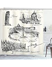 Ambesonne Sketchy Shower Curtain, Travel The World Themed Historical Italian Landmarks Venice Rome Florence Pisa, Cloth Fabric Bathroom Decor Set with Hooks