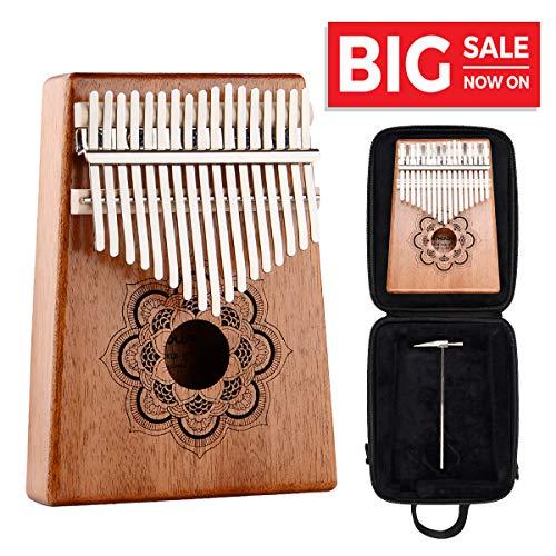 Case Music Book - Kalimba 17 Key Thumb Piano - Kithouse Kalimba Thumb Finger Piano 17 Keys Mbira - Include Kalimba Case, Music Song Book, Tuning Hammer (Mandala Flower)