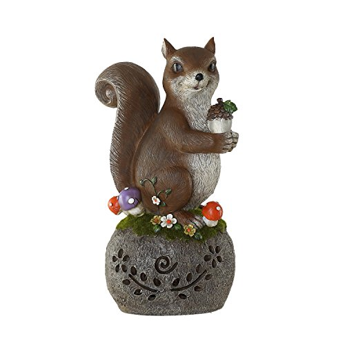 - Ivy Home Solar Statues for Garden,The Squirrel Carried a Nut