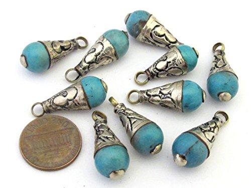(1 Pendant - Small Size Tibetan silver floral bail design turquoise drop pendant - PM300)