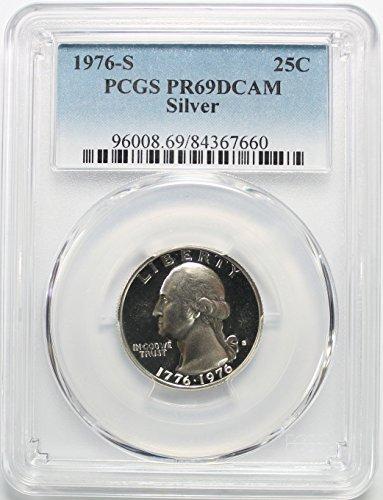 Washington Quarter Silver Coin (1976 S Bicentennial Washington Silver Quarter 25c PR69DCAM PCGS)