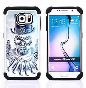 BullDog Case - FOR/Samsung Galaxy S6 G9200 / - / TOP HAT BLING DIAMOND SKULL DEATH /- H??brido Heavy Duty caja del tel??fono protector din??mico - silicona suave
