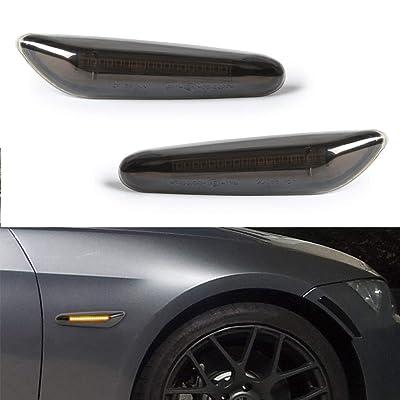GemPro 2-Pack Amber LED Side Marker Turn Signal Light For BMW E90 E91 E92 E93 E46 E53 X3 E83 X 1 E84 E81 E82 E87 E88, Smoke Lens Style Black: Automotive
