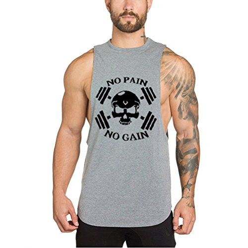 Mailiw Mens NO PAIN NO GAIN Skull BodyBuilding Top Stringer Gym FitnessWorkout Breathable Tank Tops