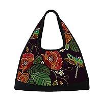 AHOMY Sports Gym Bag Poppy Flowers Dragonfly Embroidery Duffel Bag Travel Shoulder Bag