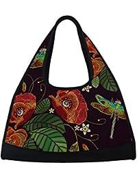 Sports Gym Bag Poppy Flowers Dragonfly Embroidery Duffel Bag Travel  Shoulder Bag 1a89f18325473
