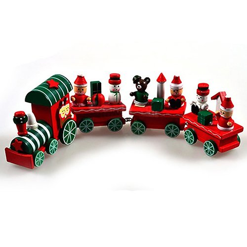 Cute 4 Sections Wood Christmas Train Table Ornament Decoration Decor Gift Greenlans