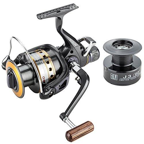 FYSHFLYER Spinning Fishing Reel 9+1BB Aluminum Spool Front & Rear Drag Carp Reel Wooden Knob Fishing Reel+ 1 Free Spare Plastic Spool;2000-6000 Series Available