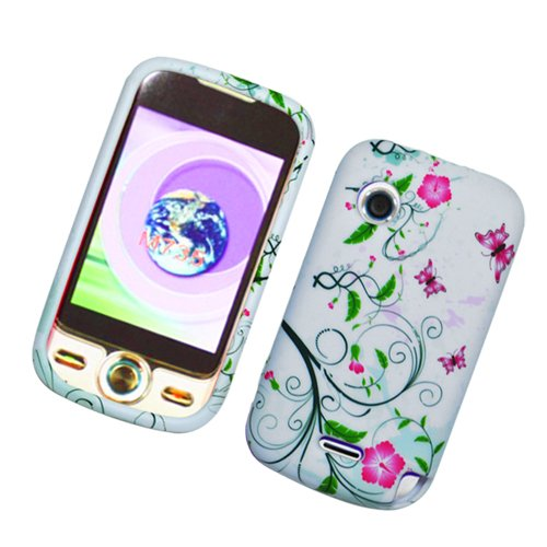 White with Green Leaf Soft Silicone Skin Gel Cover Case for Huawei M735 Metro PCS + Microfiber Bag