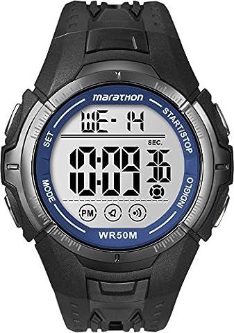 Marathon by Timex Men's T5K359 Digital Full-Size Black/Blue Resin Strap Watch - Timex Water Resistant Watch