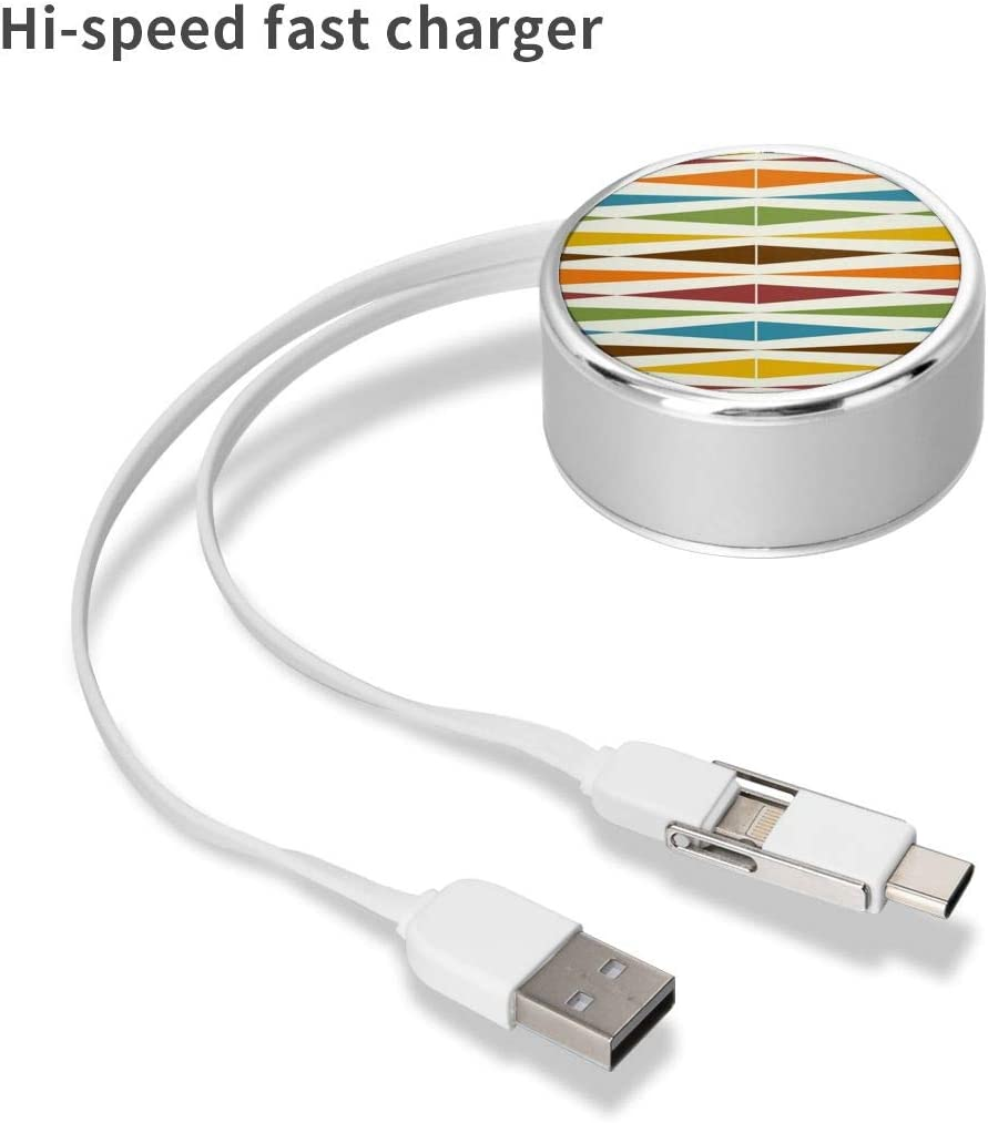 Multi Quick USB Charging Cable,Mid Century Modern Art 2 in1 Fast Charger Cord Connector High Speed Durable Charging Cord Compatible with iPhone//Tablets//Samsung Galaxy//iPad and More