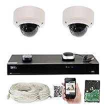 GW Security 5-Megapixel (2592 x 1920) 8 Channel PoE 4K NVR Security Camera System - 2 5MP Dome IP Video Audio Surveillance Weatherproof Microphone Cameras, 2.8-12mm Varifocal Zoom Lens