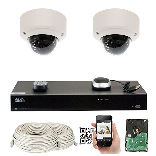 GW Security 5-Megapixel 2592 x 1920 8 Channel PoE 4K NVR Security Camera System – 2 5MP Dome IP Video Audio Surveillance Weatherproof Microphone Cameras, 2.8-12mm Varifocal Zoom Lens