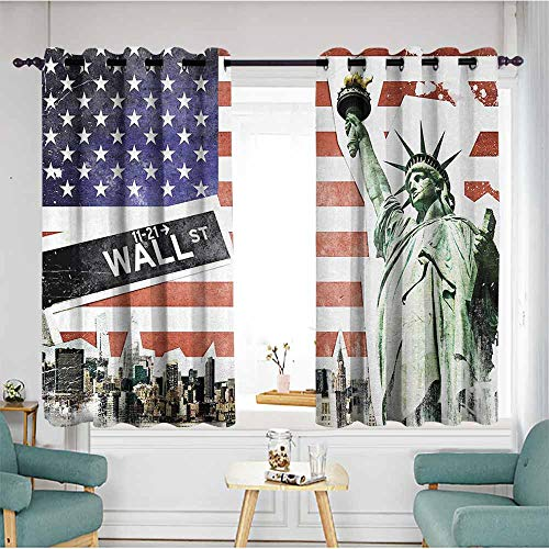 Beihai1Sun Simple Curtains,American Flag,NYC Collage with Famous Monuments