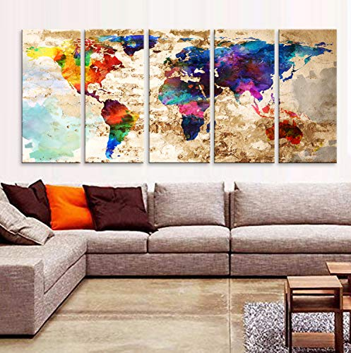 "Original by BoxColors XLARGE 30""x 70"" 5 Panels 30""x14"" Ea Art Canvas Print Original Watercolor Texture Map Old brick Wall Full color decor Home interior (framed 1.5"" depth) from BoxColors"