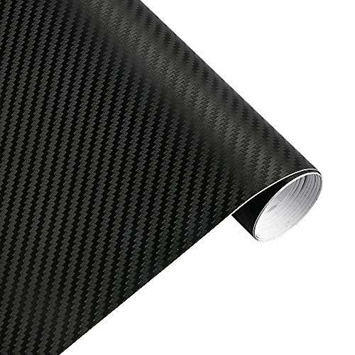 er Vinyl Film Car Wrap Sticker 5ft x 1ft Sheet Roll Black Interior DIY 12 Inch x 60 Inch (black) ()