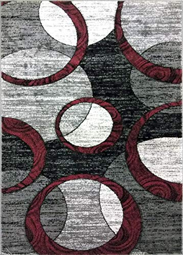 ADGO Atlantic Collection Modern Contemporary Abstract Geometric Circles Squares Swirls Living Dining Room Area Rug (3' x 5', AK10 - Bordeaux Grey)