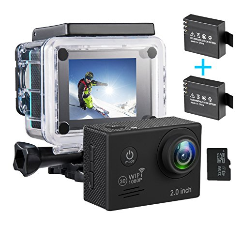 Cheap WiFi Action Camera 1080P Full Ultra HD Waterproof Sports Camera 2.0 Inch LCD Screen DV Camcorder with 2 Rechargeable Batteries (Includes 32G SD Card)