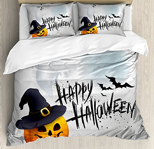 Halloween King Size Duvet Cover Set by Ambesonne, Happy Celebration Typography Stained Look Cute Ghost Pumpkin Hat Print, Decorative 3 Piece Bedding Set with 2 Pillow Shams, White Black Orange (Cute Halloween Ideas For Toddlers)