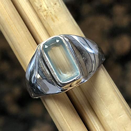 Natural 1.25ct Aqua Blue Aquamarine 925 Solid Sterling Silver Emerald Cut Men's Ring sz ()