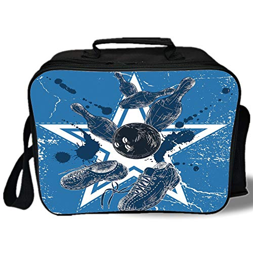 Insulated Lunch Bag,Bowling Party Decorations,Grunge Composition Star Figure Color Splashes Shoes Pins,Blue Black White,for Work/School/Picnic, Grey ()
