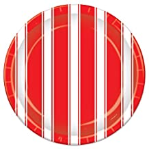 Beistle Red and White Stripes Plates, 9-Inch
