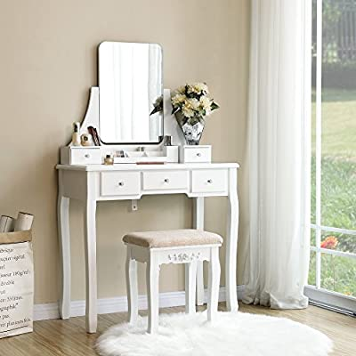 SONGMICS Vanity Table Set with Frameless Mirror, 5 Drawers, Removable Organizer, Makeup Dressing Table with Rubber Wood Cushioned Stool, White URDT25WT