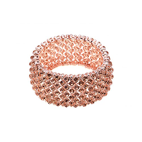 Tennis Rhinestone Stretch Bracelets Bridal Evening Party Bling Jewelry For Woman Bangle (Rose (Impression Bridal Wear)