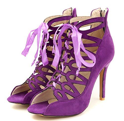 Lady Aisun Mode Violet Talon Femme Aiguille Sandales Soirée Ajourer Lacée 6ZqZTwxv0