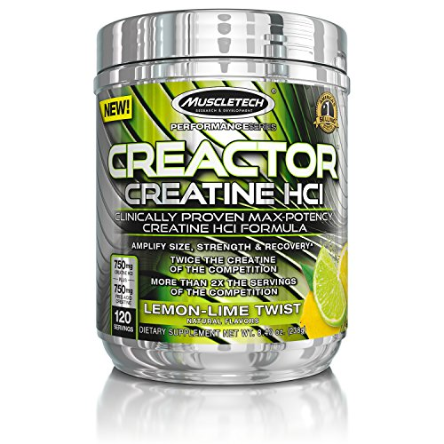 MuscleTech Creactor, Max Potency Creatine Powder, Micronized Creatine and Creatine HCl, Lemon Lime Twist, 120 Servings (238g) (Best Creatine For Men)