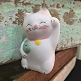 Lucky Cat Neko Fortune Handmade Painted Ceramic Japanese Chinese by Tada-Tada (1 Pcs, Green Color)