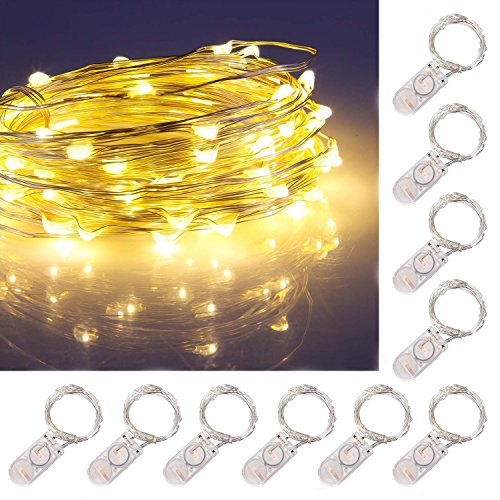 String Arrangement (ZJMZZM Led Starry String Lights for Any DIY Decoration, Waterproof Silver Wire and Lights, 2 x CR2032 Batteries Operated Portable Lights for Thanksgiving and Christmas(10 Sets, 6.8 Ft/2M, Warm White))
