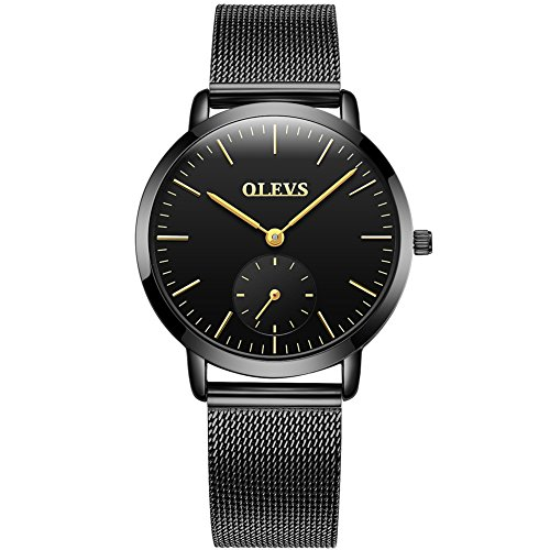 OLEVS Womens Ladies Office Watches on Sale Clearance, Ultra Slim 6.5mm Stainless Steel Mesh Band Wrist Watches with Chronograph Clock, Black Blue Faces New Fashion Waterproof Watch, Value for Money