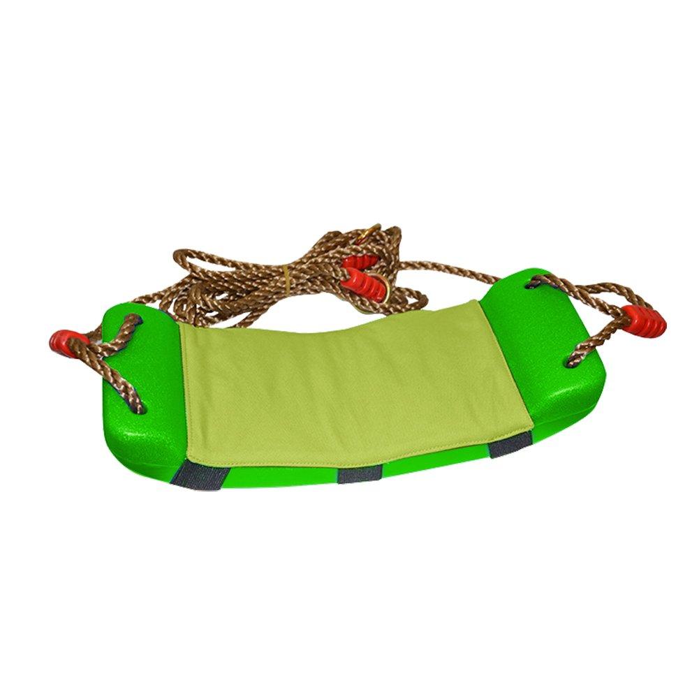 Luerme Children'sSwingToy WithAdjustableWeatherproofRopesForClimbingFrameWithCottonPadIndoorOutdoorPlasticBendingPlateSwingWithCushionSeat (Green)