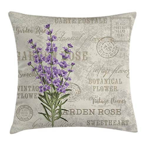 """Ambesonne Lavender Throw Pillow Cushion Cover, Vintage Postcard Composition with Grunge Display and Flowers, Decorative Square Accent Pillow Case, 16"""" X 16"""", Green"""