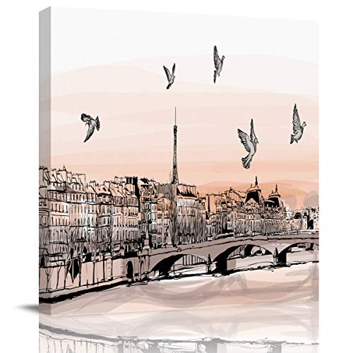 Canvas Print Wall Art France Travel City View Painting Stretched and Framed Modern Giclee Artwork for Office/Livingroom/Bedroom/Hallway 16x16in -