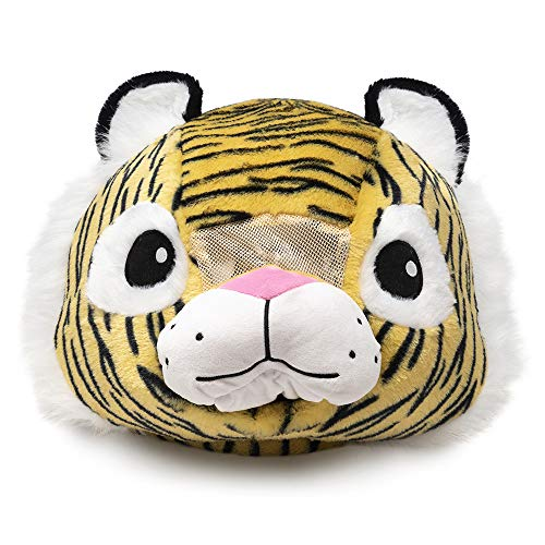 Tiger Plush Animal Head Mask Costume | Fun Furry Mascot Head with Mouth Opening]()