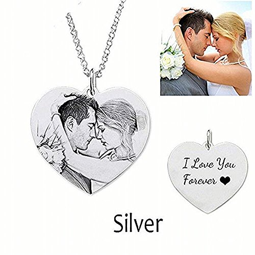 Personalized Custom Necklace Heart Pendant Silver Chain with Customized Photo and Message-A For Special Person and Love (18)