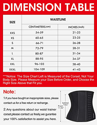 Image result for Burvogue Waist Trainer for Weight Loss-Women Trimmer dimension